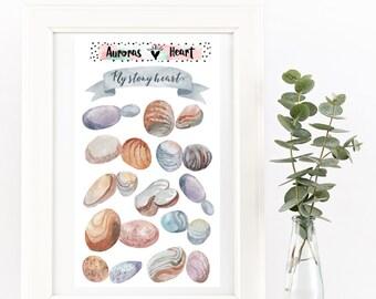 Boho pebbles stones watercolor planner stickers