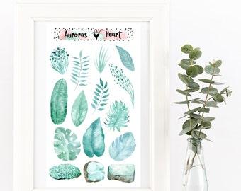 Jade leaves and gemstones watercolor planner stickers