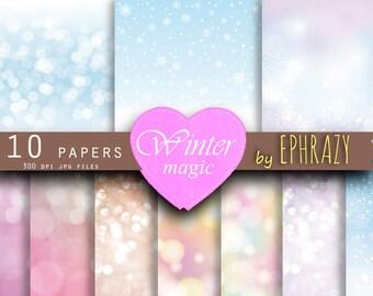 Winter bokeh. Bokeh. Christmas bokeh. Winter sparkles. Bokeh digital. Snowflake bokeh. Snow. Winter bokeh paper.