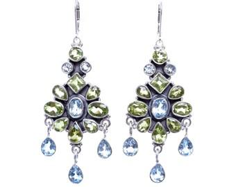Peridot earrings, Blue Topaz earrings,Handmade earrings,Leverback earrings,Sterling Silver earrings,Chandelier earrings