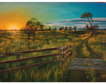 Grassland landscape, original oil painting by Carina Turck-Clark