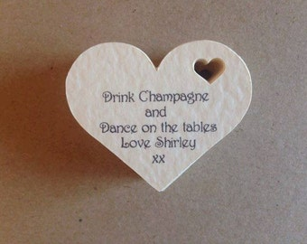 10 Hen Night gift/favour tags personalise with wording of your choice