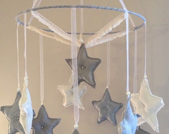 Nice mobile joint star beige linen star grey