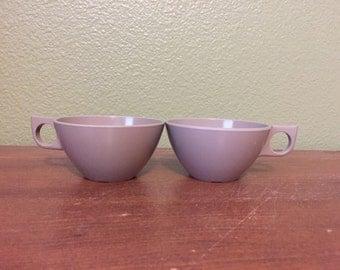 Vintage Melmac Cups, pair of brown melmac dinnerware cups 8205-8