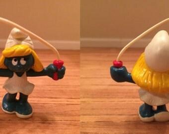 Vintage Smurfs -  Smurfette jumping rope