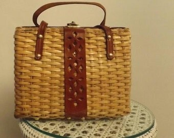 Imported Vintage Leather & Straw Handbag