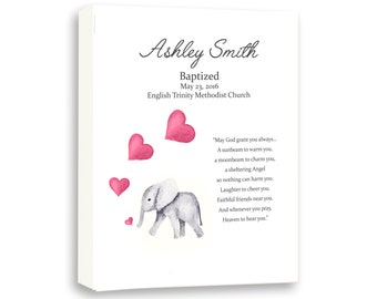 Newborn Baby Girl Art, Baby Elephant Decor, Art For Kids, Christening Day Art, Dedication Gift