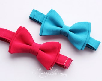 fuchsia and turquoise Bow ties - Bowties  // set 2 bow-ties