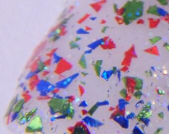 Flake Glitter Custom Indie Nail Polish - WHOO-RAH - Red Blue Green Flake Glitter Nail Lacquer Handmade Glitter Nail Art by Skin Candy