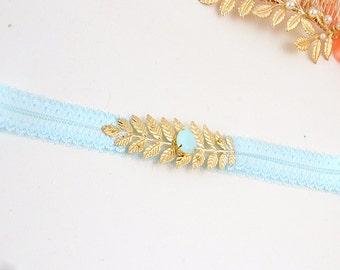 Garter bride Jayline-garter blue-jewelry leg mint-Blue Bridal Garter - leg-accessories Bridal jewelry-Bridal garter-Mint-