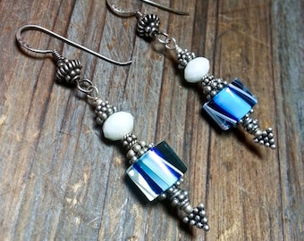 Bali Silver & Cane Glass Earrings