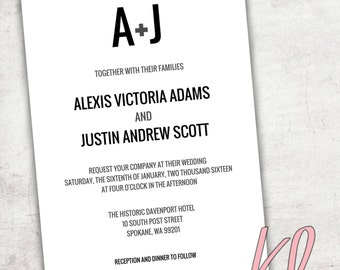 Printable Simple Wedding Invitation - Black, White & Gray - Customize to your colors
