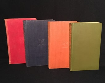 SALE - Colorful Vintage Book Set, Four Books from the Everyman's Library Series, Decorative Books