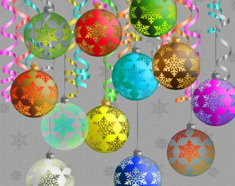 Christmas decoration Clip Art Christmas balls Clipart christmas clip art Digital Scrapbooking Elements Personal and Commercial Use