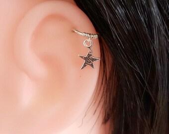 Helix Earring , Cartilage Hoop , Star Helix Hoop , Silver Helix Piercing , Nose Ring , 20ga 8mm inner diameter , Cartilage Earring , Single