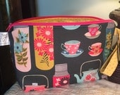"""Knitting Project Bag Kit """"got my coffee ready for the Gilmore Girls Reboot"""" (Medium wedge bag & Stitch marker set)"""