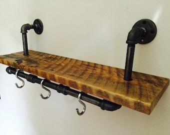 Industrial Pipe Rack & Wood Shelving