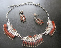 J. S. Bellson Zuni Needlepoint Sterling and Coral  Necklace and Earrings Set