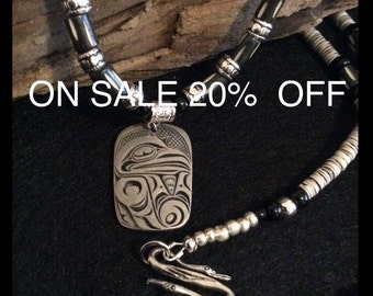 """ON SALE 20% OFF Raven, Xhuuya, The Haida """"Trickster"""" Necklace, Native American Inspired, Pacific Northwest Haida"""