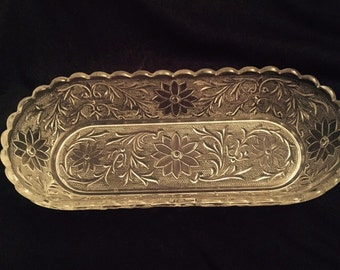 Vintage Cut Glass Pickle Dish