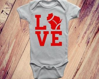 Love Wisconsin Baby Onesie, Love Wisconsin Football Onesie, Love Wisconsin Football Bodysuit, Wisconsin Baby, Wisconsin Love, Badger Onesie