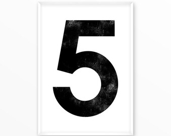 Number print 5, printable, 1-9 Poster, scandinavian design, nursery, printable, Typography, Poster, Inspirational Home Decor, wall art, gift