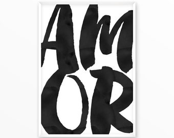 Amor Print, Love scandinavian Poster, Quotes, printable, Typography, Poster, Motivational, Inspirational Home Decor, wall art, gift