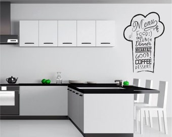 Chefu0027s Hat Wall Decal, Kitchen Wall Decal, Chefu0027s Hat Wall Sticker, Menu  Wall Part 41