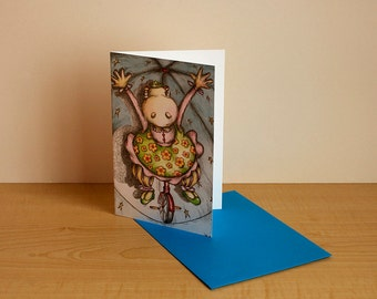 """Greeting card, birthday card, card for any occasion, card for children, """"Anemone at the circus"""", inside without text"""