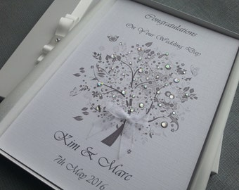 Personalised Wedding Congratulations Card Handmade Boxed Keepsake Ivory White from Parents Grandparents Friends Crystal Tree