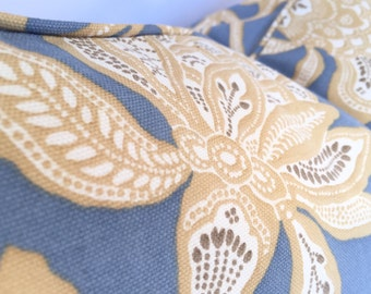 Morris-Style Flower & Vine Pillow Cover in Cornflower Blue and Warm Gold