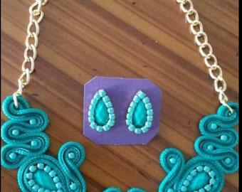soutache turquoise set