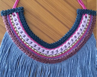 simple necklace with braid and fringes