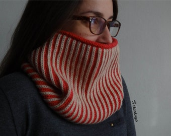 SPECIAL PRICE Suzette wool knitted brioche reversible cowl, scarf, winter accesory