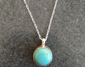 Natural Turquoise Sterling Silver Necklace