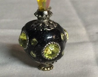 Bold and Beautiful Black and Yellow Miniature Perfume Bottle, Dollhouse, Miniatures