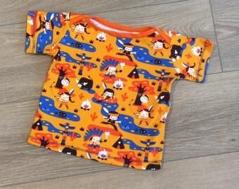 organic cotton T-shirt, american indians print