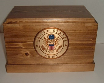 Army cremation urn, wooden military urn