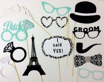 Breakfast at Tiffany's photo booth props// bridal shower//engagement party// bride to be// groom//paris//birthday