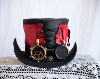 Classy Red Steampunk Corset Top Hat with Steampunk Goggles