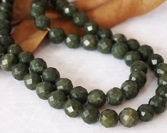 "Strand African Jade Gemstone Beads Faceted Round Green 15"" Strand Size 10mm QTY 38 Beads"
