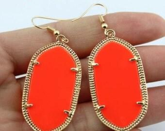 Bright Neon Orange Oval Drop Acrylic Earrings