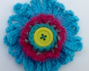 Crochet Flower Brooch Turquoise and Pink with Yellow Button