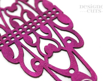 Laser cut leather cuff bracelet -Pink/purple filigree design