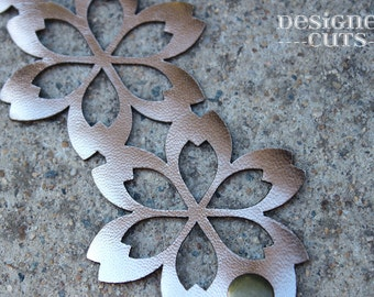 Laser cut leather cuff bracelet - Rose gold flower design