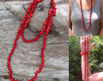 Handmade Red Sandalwood Seed Long Necklace