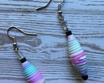 Purple/Multicolored Paper Bead Earrings