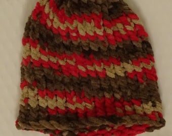 Red Beige and Brown knitted hat!