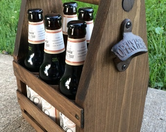 Six Pack Holder, Wood Beer Caddy, Groomsmen Gift, Brother/Dad Gift