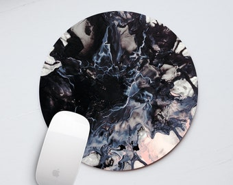 Black and White Marble Mouse Pad Round Mouse Pad Marble Mouse Mat Designed Mousepad Mice Office Desk Computer Accessories Laptop Mat PP5010